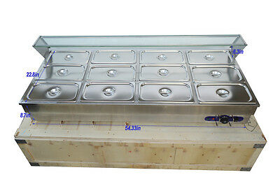 12-Pan Hot Well Commercial Bain-Marie Buffet Food Warmer Steamer Table 1/3Pan