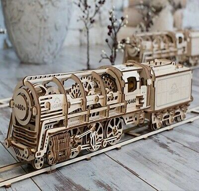 "UGEARS - Mechanical Wooden 3D Puzzle / Model ""460 Locomotive & Tender"" + Tracks"