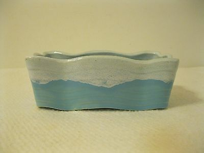 Vintage McCoy USA Aqua Blue or Turquoise and White Window Box Planter