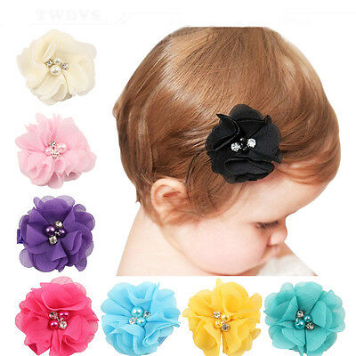 10 PCS DIY Baby Girls Hair Pearl Chiffon Flower For Headbands Corsage No Clip