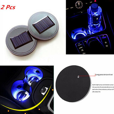 Car Suv Solar Cup Holder Bottom Pad LED Light Cover Trim Atmosphere Light 2 Pcs
