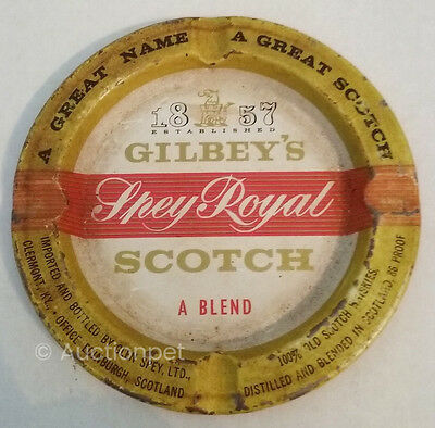Vintage GILBEY'S SCOTCH ASHTRAY Spey Royal Tin Old and Original, Worn