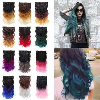 8 Hairpieces Clip In Hair Extensions Ombre Black Red Muti-Colored 20 Inch Party