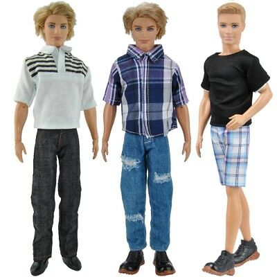 3 Sets Doll Clothes Casual Suits Tops Pants Jeans Outfit For Barbie Ken Dolls A