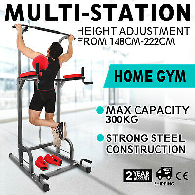 Power Tower Chin Up Dip Station Push Bar Pull Multi Home Gym Punching Ball Abs