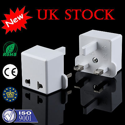 1/3/5x Euro European Converter EU 2 to 3 Pin Plug UK Travel Mains Power Adaptor