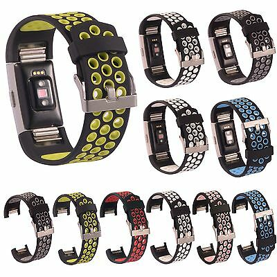 Sports Silicone Wrist Watch Band Strap Bracelet For Fitbit Charge 2 II Wristband