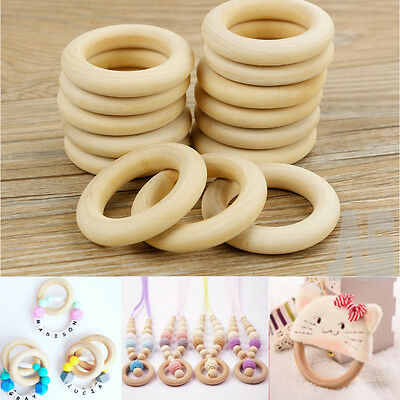 5/10/20PCS Unfinished Natural Wooden Teething Rings Curtain Craft 55/70mm