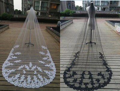 NEW Black  3m Cathedral Wedding Veils Lace Appliques Long Bridal Veil With Comb