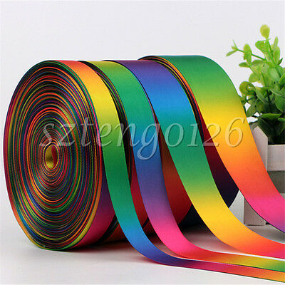 10Yd Ombre Rainbow Satin Silk Ribbon Single/Double Sided Bows 10 16  25 38 50mm