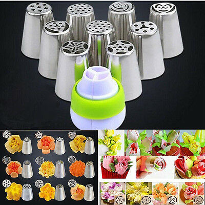 9Pcs DIY Russian Flower Icing Piping Nozzles Cake Decorating Tips + Adapter