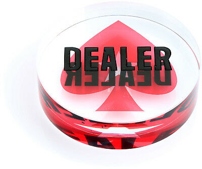 """Deluxe Clear Jumbo Crystal Dealer Button 3"""" Width Double Sided Gambling Casino"""