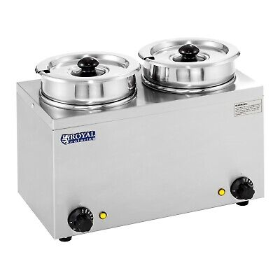Soup Dispenser Sauce Bain Marie 2 X Pots Food Warmer Individual Adjustable Heat