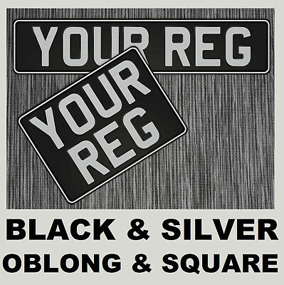 Vintage Black & Silver Car Pair Aluminium Number Plates Embossed Oblong & Square