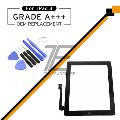 Black Replacement For iPAD 3/4 Home Touch Screen Front Glass Digitizer Tools
