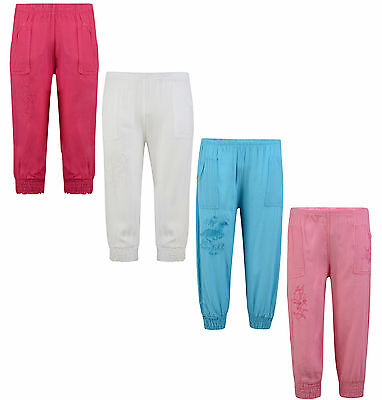 Girls Capri Leggings Trousers 3/4 Length 2-12 Years Bnwt