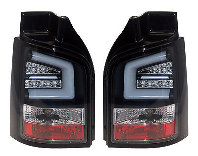 Vw T5 2010- Rear Tail Lights Led Indicator Smoked Lens + Black Base Back Light