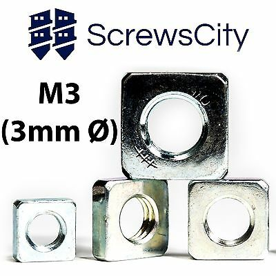 M3 (3mm Ø) SQUARE THIN NUTS ZINC PLATED DIN 562