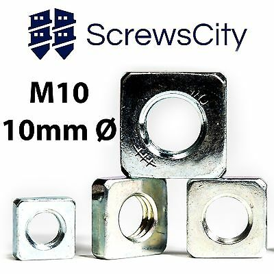 M10 (10mm Ø)  SQUARE THIN NUTS ZINC PLATED DIN 562