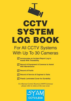 CCTV System Log Book CCTV/LB30 Syam Suitable for up to 30 Cameras