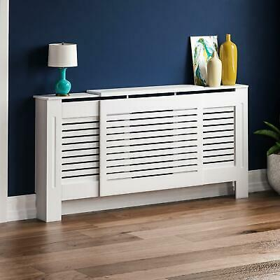 Milton Radiator Cover Adjustable MDF Modern White Cabinet Heating Grill Guard