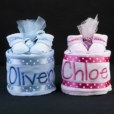 baby boy or girl mini nappy cake embroidered name muslin square & socks newborn