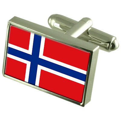 Norway Flag Cufflinks Tie Clip Lapel Badge Engraved Gift Set WFC316