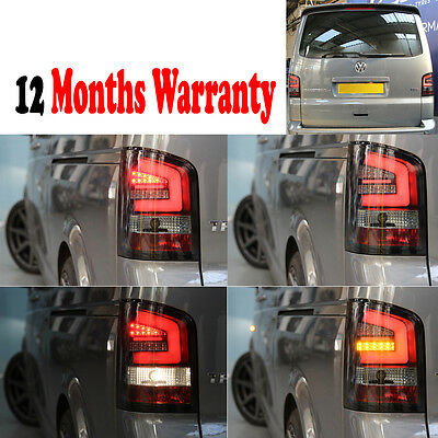 Vw T5 2010- Led Rear Tail Lights Led Indicator Clear & Black Back Brake Light