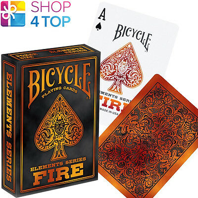 Bicycle Fire Elements Series Poker Playing Cards Deck Orange Red Made In Usa New