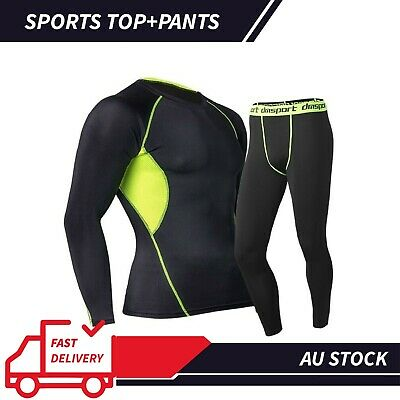 Top+Pants Sports Men's Compression T-Shirt Pants Base Layer Skin Fit Tights Set