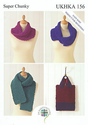 Super Chunky Knitting Pattern for Easy Knit Ladies Scarf Bag & Snoods UKHKA 156