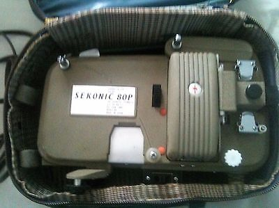 Sekonic 80P Cine Film Projector standard 8 8mm with carry case working order