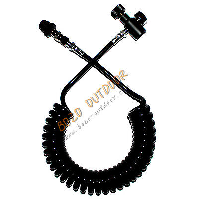 LM Paintball Coiled Remote Hose Thick Air Line W/ QD & 1500PSI Mini Gauge BLK