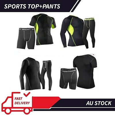 OZ Mens Compression T-Shirt Short Sport Gym Pants Base Layer Skin Tights Running