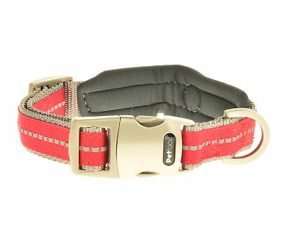 Adjustable Neoprene Padded Reflective Nylon Collar Dog Puppy Comfort Red Petface