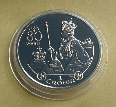 2006 Isle Of Man 1 Crown Queen Elizabeth 80 Years Silver Proof Coin On Throne