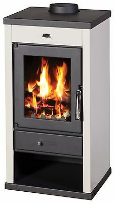 Wood Burning Stove 12-17 kW Fireplace Top Flue Colored Sides BlmSchV1
