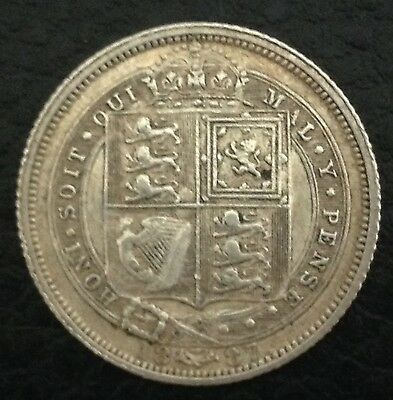 1887 Victoria Silver Sixpence Coin