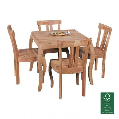Dining table solid wood 80x80cm acacia natural kitchen table Rustic wooden table
