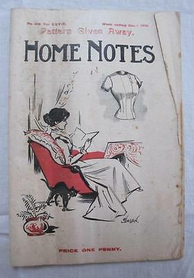 """ANTIQUE VICTORIAN """"HOME NOTES"""" SEWING FASHION ILLUSTRATED MAGAZINE - c1900"""