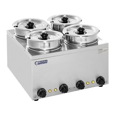 Commercial Soup Sauce Food Warmer Bain Marie Four Deep Wet Pots Stainless Steel