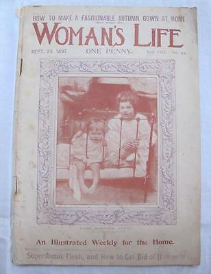 """ANTIQUE VICTORIAN """"WOMAN'S  LIFE"""" SEWING FASHION ILLUSTRATED MAGAZINE - c1897"""
