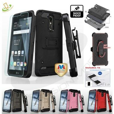 For LG Stylo 3 Hybrid Impact Armor Rugged Hard Case Cover Clip Holster + Screen