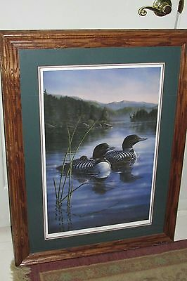"Michael Glenn Monroe Loons ""Lake of the North"" Signed Numbered Framed Rare Print"
