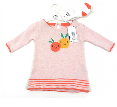 Ex M&S Baby Girl Pink Orange Knit Dress & Tights Outfit 0 3 6 9 12 18 24 Mth £16