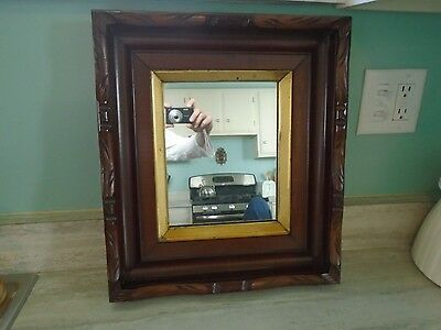 Antique Carved Gold Wood Mirror Picture Frame Eastlake Adirondack Victorian