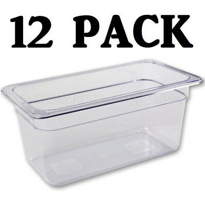 "10 PACK 1/3 Size Polycarbonate Clear Plastic Steam Prep Table Food Pan 6"" Deep"