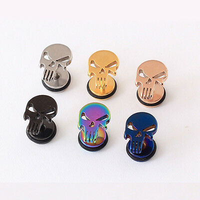 1Piece Hip hop Beard Skeleton Punisher Skull Gothic Biker Punk Ear Stud Earrings