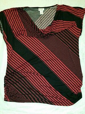 Motherhood Maternity Black and Red Striped Top Sz XL Cowl Neck Sleeveless Blouse