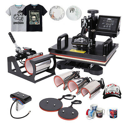 "Transfer Sublimation T-Shirt Mug Hat Plate Cap 8 in 1 Heat Press Machine 15""x12"""